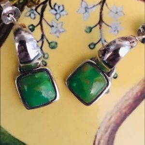 EUC Barse lime green turquoise silver earrings